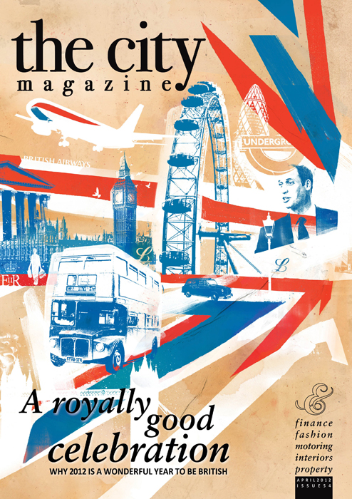 britain uk flag royal wedding illustration london city illustration london eye london bus british airways houses of parliment london black cab taxi the city magazine london gerkhin royal family jools holland polo canary wharf clocks the queen 02 arena bentley hsb bank illustration the queen danny allison illustration
