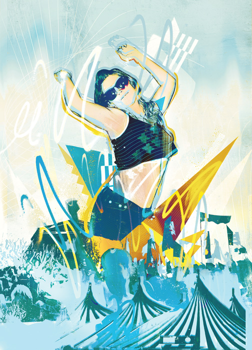 festival dancing illustration. A girl partying at a festival for the big issue in london.