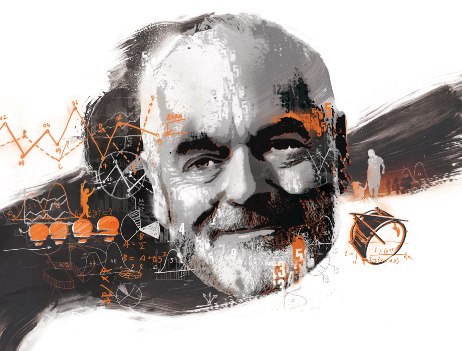bbc, bbc illustration, scientific illustration, portrait illustration, spray paint illustrator, urban illustrator, beautiful mind, math, mathematician, mathematics, danny allison, danny allison illustration, famous illustrator, happy face illustrator, scientist, study, intelligent illustration, editorial illustration, editorial illustrator, beard illustration, beards, orange, grey, black, numbers, numerical, statistics, creative review, creative illustrator, AOI, association of illustrators,