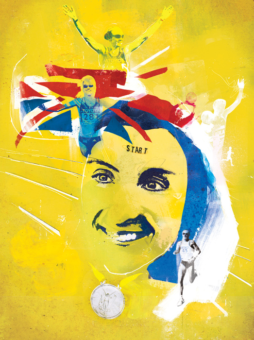 Paula Radcliffe Illustration by Danny Allison Illustrations. Runner World magazine
