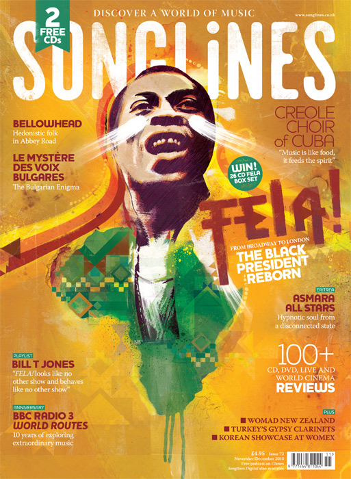 Fela Kuti illustration Songlines music cover africa illustration. Danny Allison Illustration
