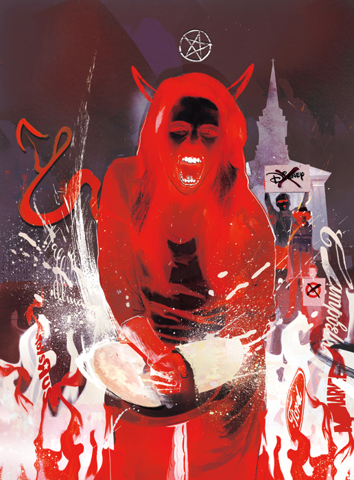 Female satan devil illustration editorial illustrations for gaytimes magazine by danny allison