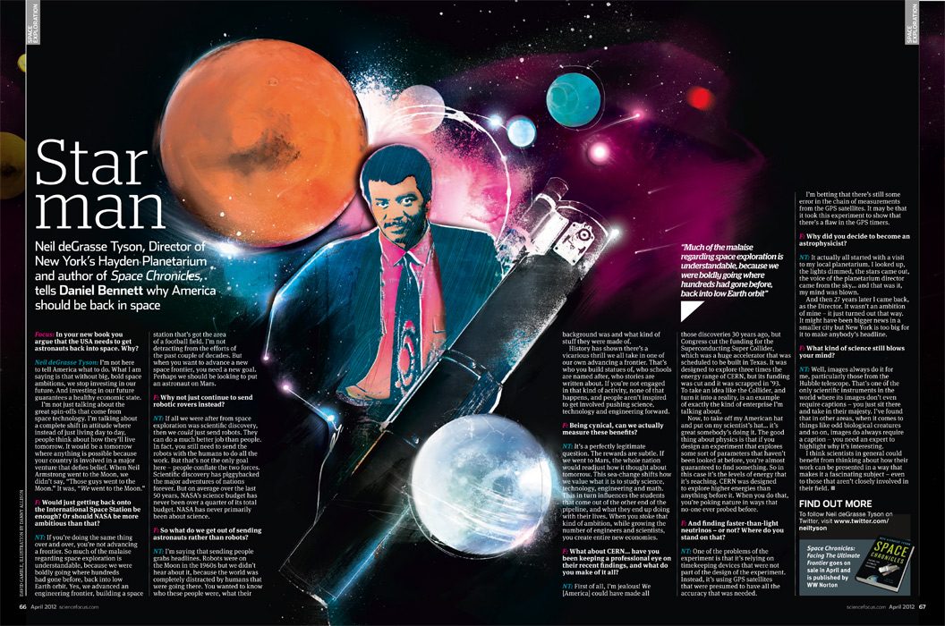 BBC science illustration by Danny Allison Illustration. Portrait illustration. BBC Focus Magazine