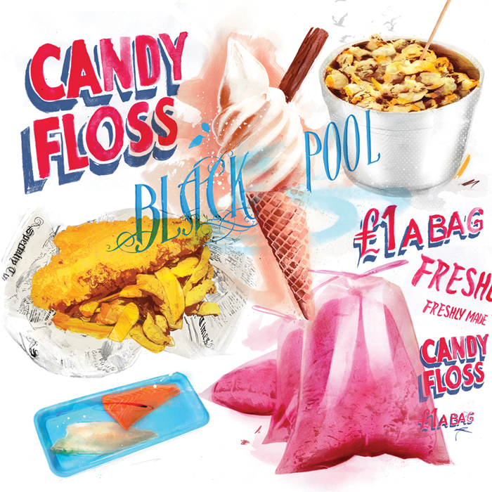 Hand Drawn Typography Seaside food illustrations by Danny Allison illustration. candy floss ice-cream fish and chips