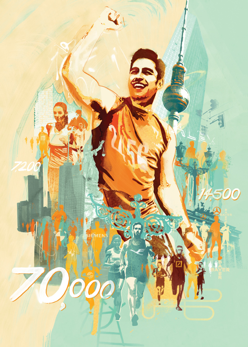 Sports illustration for running and marathon health and fitness in germany. German city illustration by danny allison illustrator. editorial illustration.