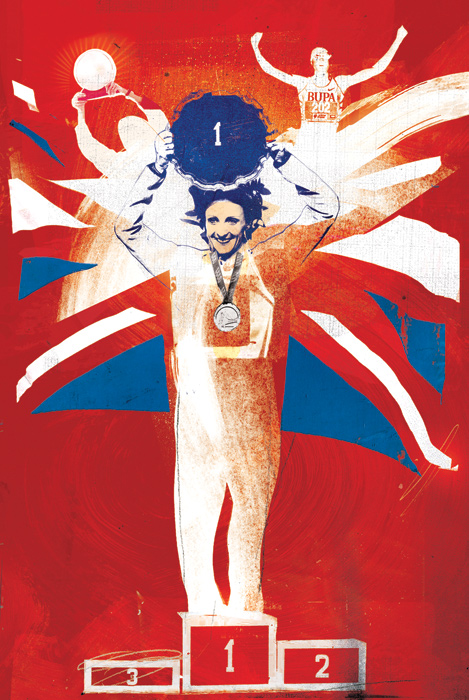 Paula Radcliffe Illustration by Danny Allison Illustrations. Runner World magazine