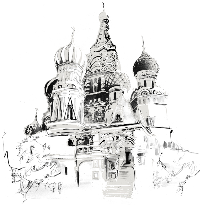 Map Travel illustration Saint Basils Cathedral illustration for lonely planet magazine danny allison