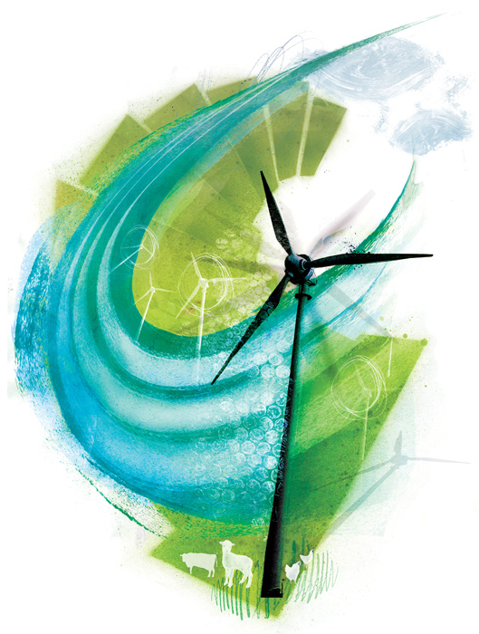 green energy wind farm sustainability illustration