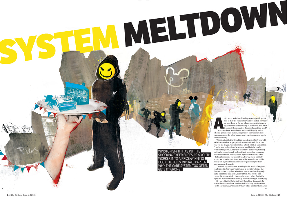 social issues chav urban street crime illustration big issue system meltdown by danny allison
