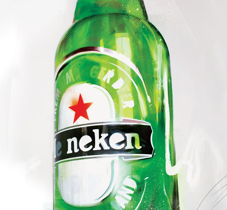 heineken beer bottle illustration danny allison illustration