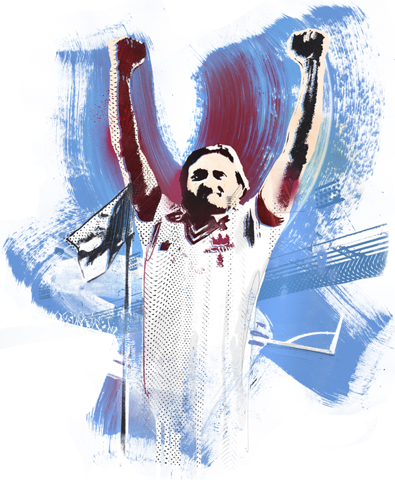celebration football illustration frank lampard famous illustration aston villa uefa fifa champions league artwork paint screen print