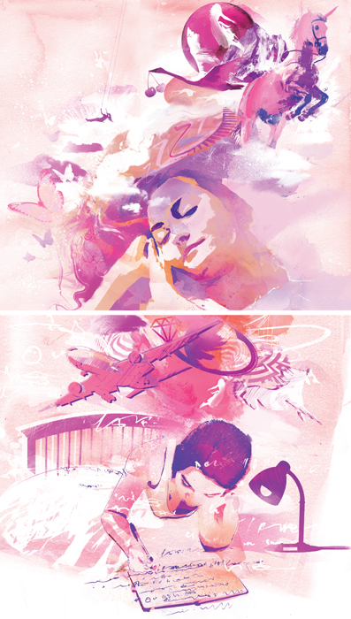 pink night dreams dreaming illustration top sante magazine science of sleep illustration danny allison illustrator