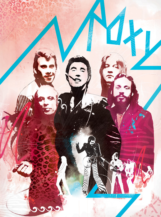 Roxy music illustration for Prog Rock magazine by Danny Allison illustration