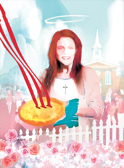 All american housewife baking a pie with a church behind her illustration for gaytimes by danny allison illustrator
