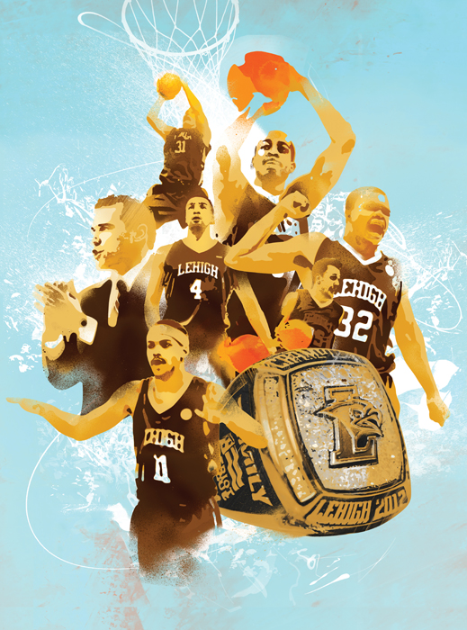 Basketball illustration for lehigh basketball team sports illustration by danny allison illustrator