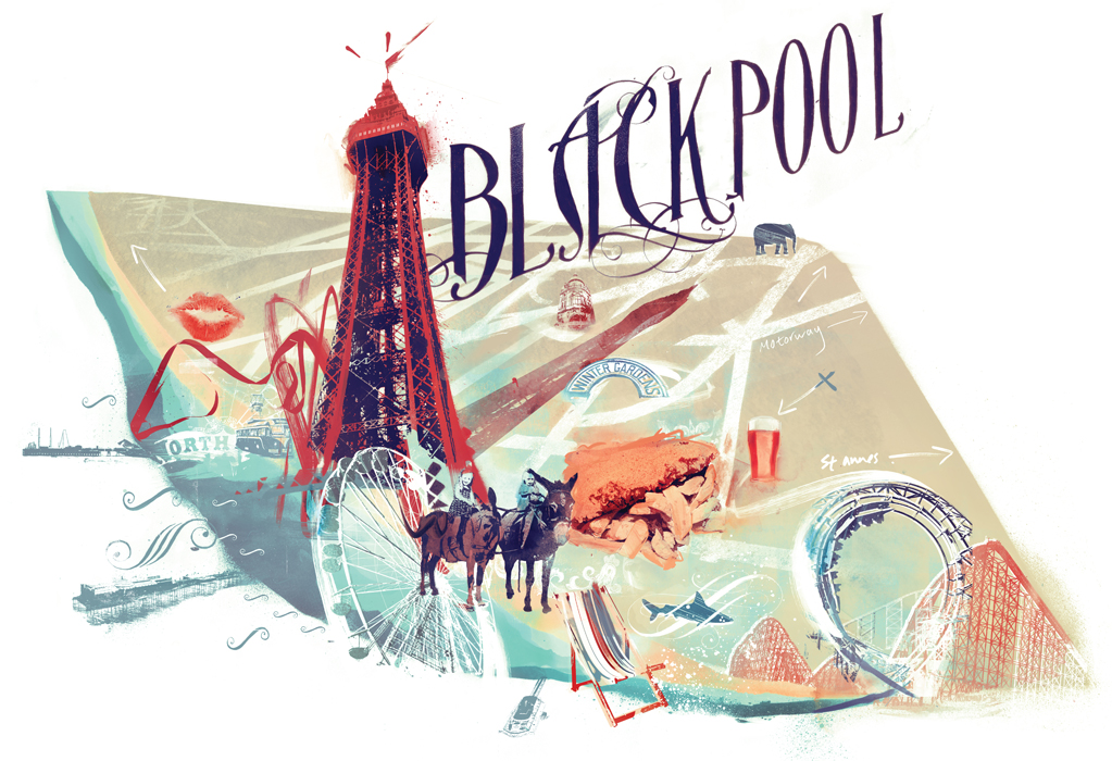 map illustration of blackpool england by map illustrator danny allison