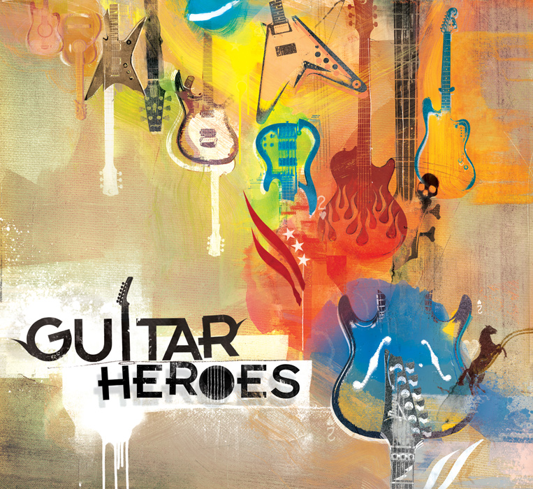 EMI Guitar Heroes cd cover artwork by danny allison illustration