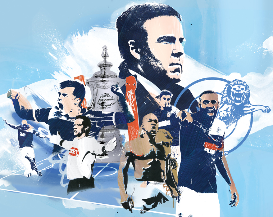FA cup football illustration chelsea for editorial by danny allison