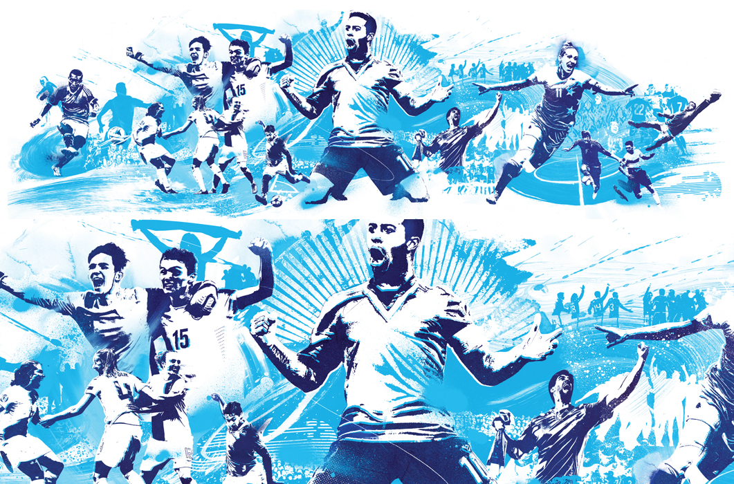 uefa illustration, football illustration, soccer illustration, world cup football illustration, celebrate illustration, sport illustrator, sports illustration, goal, penalty, pitch, stadium, epic, wild, loud, score, blue, uefa colours, complimentary colours, color, famous illustrator, famous illustrations, urban, graphic, UEFA, sporty, stencil, artwork, graff, graffiti illustrator, banner, big banner illustration, starburst, sunburst, advertising illustration, advertising illustrator, halfway, half time, kick, shooter, striker