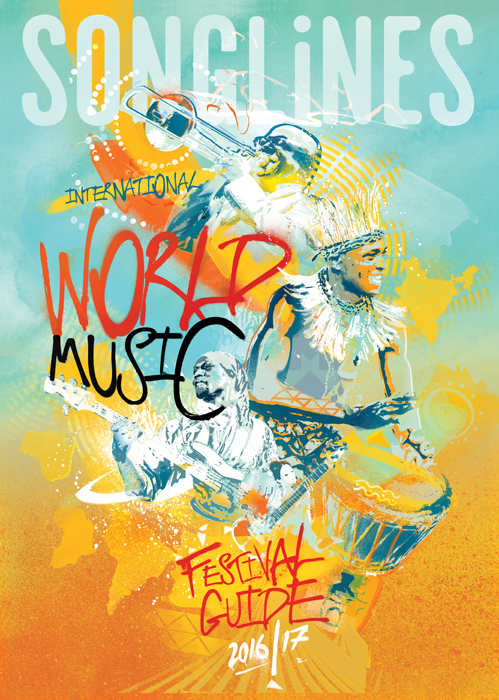 Music illustration festival design album artwork by danny allison illustration. Songlines painterly illustration.