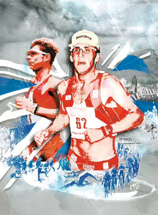 run triathlon illustration manchester northern water swim cycle 220 jog retro