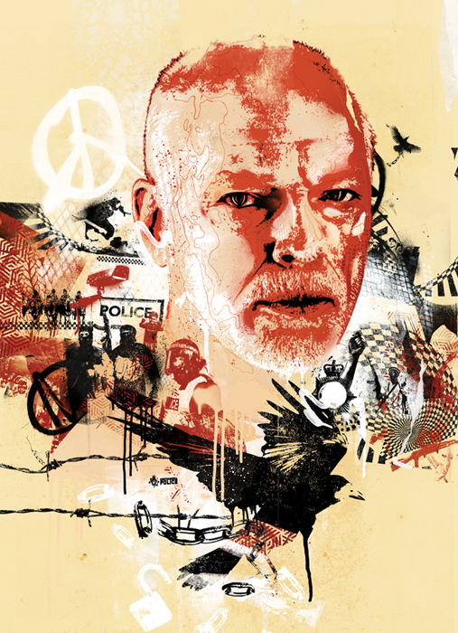 david gilmour pink floyd portrait illustration street style graffiti editorial prog rock crows locks chains police state banksy